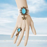 Free shipping/ Necklaces Retro style Gothic white lace sky blue fashion lady's girls bracelets jewelry