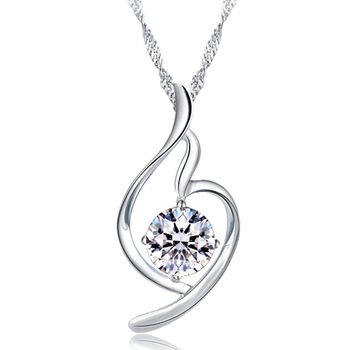 Givlie jpf elegant crystal pendant short design 925 pure silver necklace female