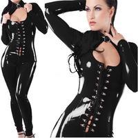 Patent Leather Jumpsuits Uniform Temptation Female Button Pole Dancing Club Bind Leather Club DS YK670
