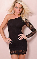 Spring 2013 New Europe And The United States Perspective Long Sleeve Package Hip Sexy Lace Tight Sexy Club YK671