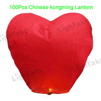 Wholesale/Lots 100pcs Red  Heart Style Kongming Lantern Flying Sky Lantern Wishing Lamp