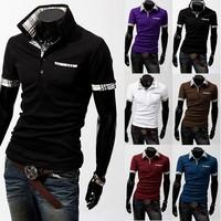 New lattice spell color men's short-sleeved t shirt Boro Brand poloshirt cotton for men
