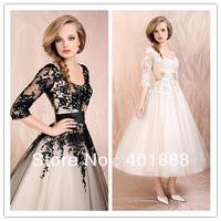 best seller black lace 3/4 sleeve cocktail dresses 2013
