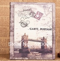 Free Shipping New arrival Vintage Paris Eiffel Tower Ferris Wheel Leather Case Cover For Ipad 2 3 4 Stand Leather Case