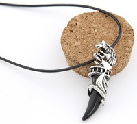 2013 New Designer Necklace Fashion Punk Retro Jewelry Wolf Horn Leather Rope Necklace For Men And Women 3pcs/lot Mix Color