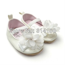 1pcs/lot  Baby girl's toddler shoes  first walker pu shoes white flower Princess shoes 2014 new style freeshipping(China (Mainland))