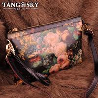 Cowhide oil painting brief envelope messenger bag women's small bag portable belt