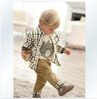 Plaid spring baby clothes set cool boy 3 pcs suits t-shirt+shirt+pants children suit