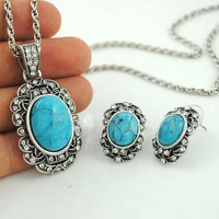 Hot selling Jewelry Sets original crystal turquoise necklace earrings two-pieces ancient silver plated jewelry set S011
