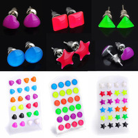 Wholesale Mix Lots 24pcs Pretty Star Heart Shape Glow In Dark Luminous Ear Studs Free Shipping