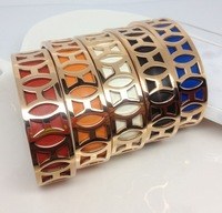 Hot Selling Titanium Steel Cave Silver/Gold/Rose Gold Plated with Genuine Leather Cuff Bangle for Women Free Shipping