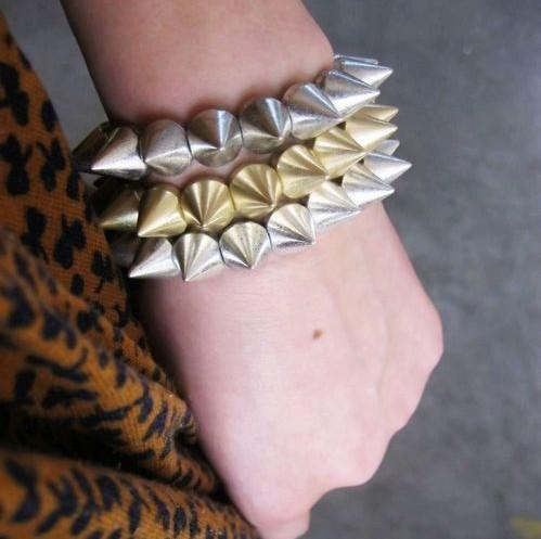 Christmas Gift Fashion Hot Cool Rock Punk Studs Spike Rivets Elastic Stretch Bangle Bracelet(China (Mainland))