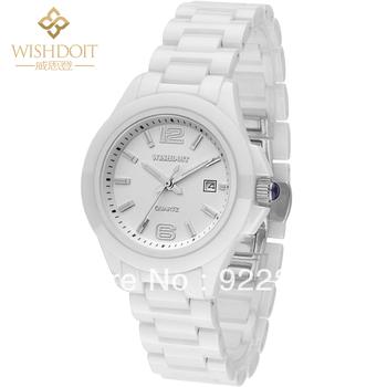 High Grade Fashion Brand Ladies White Ceramic Watches Waterproof 100M Women's Military Sapphire Calendar Table Luxury Watches