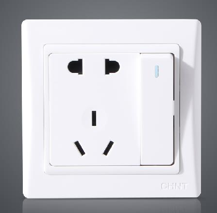 FREE SHIPPING! 1pcx Security steel frame wall outlet switch with socket, a single switch control, five-hole(China (Mainland))