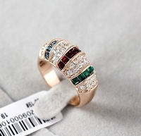 Selling luxury glaring exaggerated European and American wind Austrian crystal ring free shipping