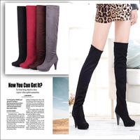 Autumn and winter hot-selling stiletto platform casual scrub over-the-knee long-barreled gaotong boots two ways boots size