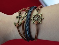 2013 Fashion Bronze Infinity Rudder Anchor Leather Suede Wrap Bracelet Jewelry Black Brown Free Shipping