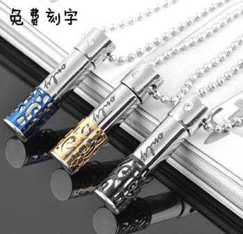Lettering cutout perfume bottle titanium lovers pendant male fashion necklace