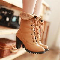 Fashion Boots Women's Shoes Boots Fur Boots Bandage Soft Leather Thick Heel High-heeled Martin Boots Plus Size  4-12.5