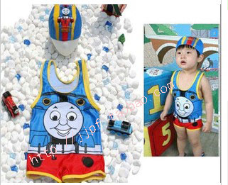 Child swimwear male child thomas one-piece swimsuit swimming cap vest style