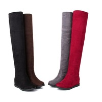Elastic Velvet Over-the-knee Scrub Boots Women's Shoes Flat Elevator Boots Snow Boots
