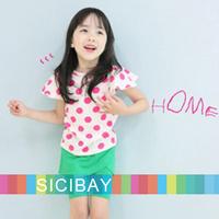 Free Shipping Kids Clothes Little Girls Fashion Sets Dot Suits Kids Summer Wear,Dot Tshirts + Skirtpants,5sets/lot K0498
