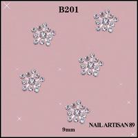 Free Shipping 3D Silver Snowflake Nail Art Metal Rhinestone Decoration Crystal DIY Nails Channel 100pcs/lot Size:9mm #B201