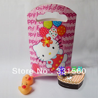 Free shipping,New on sale,250g ivory board,hello kitty party birthday, paper gift bag ,party supplies,all factory direct sales
