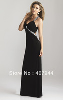 Free shipping 2013 NEW arrival black /red V-neck A-line sexy open back/backless beading/crystals long pageant prom dress