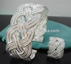 Wholsale 2013 new FASHION jewelry Cross-woven 925 Sterling Silver bangle ring set Penoyjewelry J327(China (Mainland))