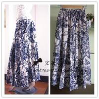 2013 female spring slim full half-length dress vintage flower floral print full dress