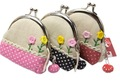 New button flower Hasp Coin Purses / Portable Wallet / Cosmetic Bag / Key Holder / wholesale 10pcs/lot free shipping