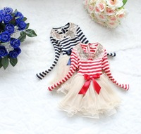 Free shipping(4pcs/lot)girl's Net yarn dress sequin Stripe long sleeve dress girls lace TUTU Ball Gown dress