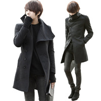 'free shipping' 4 woolen trench single breasted male outerwear trench slim men's clothing