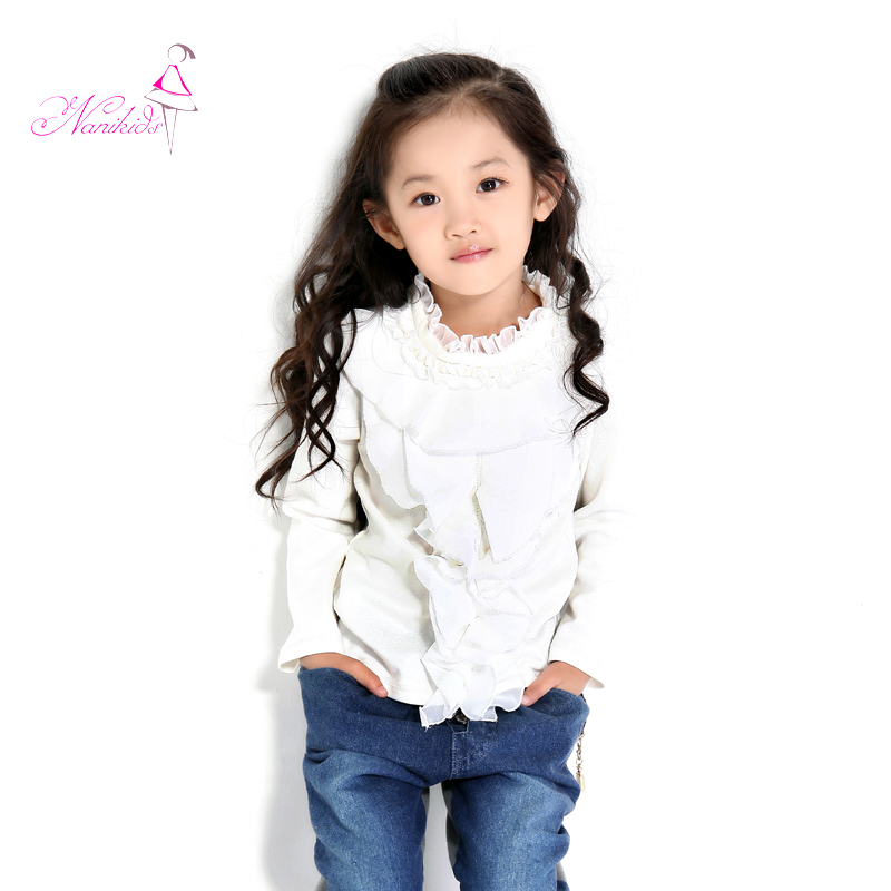 Children&#39;s clothing 2013 spring new arrival female child basic shirt lace collar long-sleeve T-shirt child t shirt(China (Mainland))