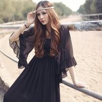 2013 print expansion bottom chiffon one-piece dress flare sleeve full dress beach dress fairy elegant fashion popular long dress