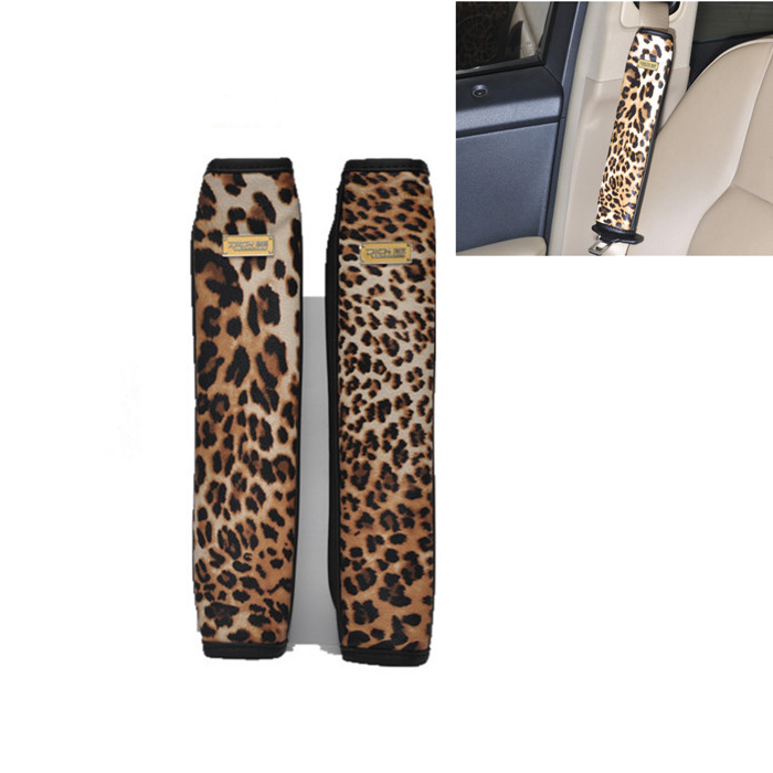 New Leopard Leather Car Safety Seat Belt Shoulder Pads Cover Cushion Harness(China (Mainland))