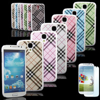 For Samsung Galaxy S4 SIV I9500 Classic Check Gird Hard Case Cover + Free Gift Screen Film/Protector