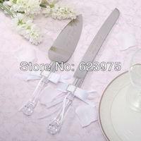 Personalized Satin White Bows with  Ractangle Design Rahinestone Wedding Cake knife & Server Set