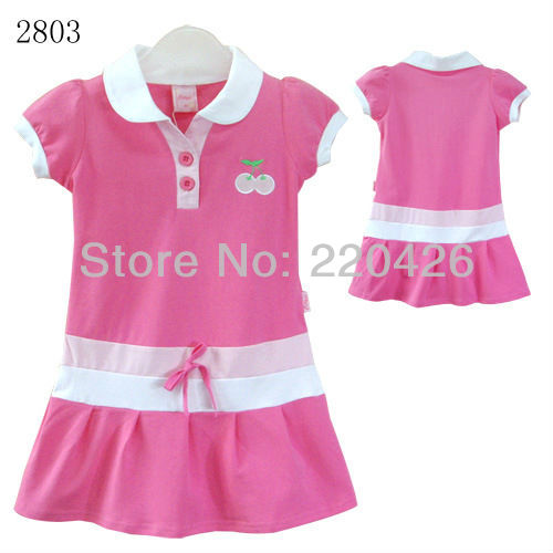 Free shipping, children dress, girls casual dress, kids 100% cotton dress, wholesales, 3 pcs / pack(China (Mainland))