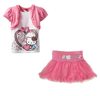 New Fashion KIMOCATkitty summer clothing set, Girl's False 2 Tops+Sequins lace skirts kid's 2pcs set,children suit