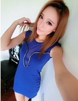Hot Sale Free Shipping Summer New Women Sexy Slim Hip Perspective Gauze Patchwork Solid Color Sleeveless One-Piece Dress GHC-018