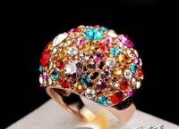 free   shipping  Authentic jewelry wholesale and the wind of luxury fashion personalized crystal wide version of ring girl