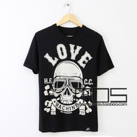 2013 summer new trend Funny love skull men&#39;s short-sleeved round neck HJH2-10