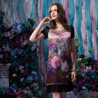 Women's Short-Sleeve Mulberry Silk Fashion High Quality Silks And Satins Silk Slim Knee Length Floral One-Piece Dress