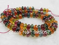 5x8mm Natural Faceted Multicolor Tourmaline Loose Beads 15''  Fashion jewelry