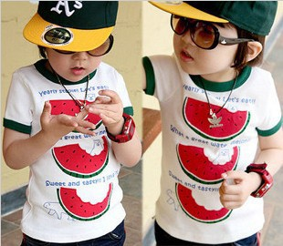 children Baby Toddler Kids summer watermelon boys clothing Short Sleeves Top T-Shirts Korea Style ltt11(China (Mainland))