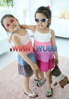 Baby Girl's Rainbow Color Tank Dress Girl's Sun-top Summer Dress Girl's Summer Beach Dress 6pcs/lot