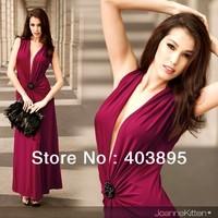 (Free Shipping)New Women's Deep V-neck Sexy Red Carpet Floor Banquet Dinner Sleeveless Dress Wholesale Promotion,3pcs/Lot