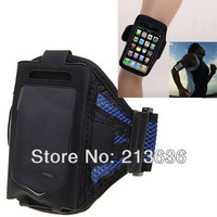 Stylish Reticular Sports Armband Pouch Case Arm Strap Holder for iPhone 4 4S -Blue Free Shipping
